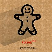 Gingerbread. Flat modern web button  on a flat geometric abstract background