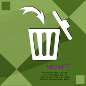 Trash bin. Flat modern web button  on a flat geometric abstract background