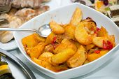 picture of potato-field  - Fried potato wedges on white plate, selective focus