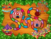 Illustration of a boardgame with carnival background