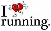 Illustration of i love running sign