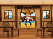 Illustration of a cowboy shooting gun in a restaurant