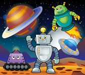 Space theme with robots 1 - eps10 vector illustration.
