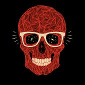 stock photo of gold tooth  - vector funny candy red skull with glasses and teeth on black background - JPG