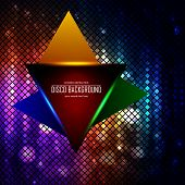 Triangle on the lit disco colored abstraction background
