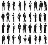 Silhouette Business People with Varioius Acting Vector