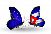 Two Butterflies With Flags On Wings As Symbol Of Relations Eu And Cuba