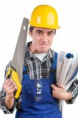 Young Worker With A Handsaw Is Angry