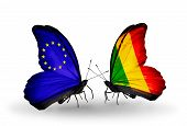 Two Butterflies With Flags On Wings As Symbol Of Relations Eu And Mali