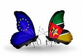Two Butterflies With Flags On Wings As Symbol Of Relations Eu And Mozambique