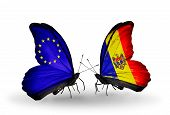 Two Butterflies With Flags On Wings As Symbol Of Relations Eu And Moldova