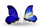 Two Butterflies With Flags On Wings As Symbol Of Relations Eu And Nicaragua