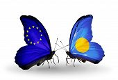 Two Butterflies With Flags On Wings As Symbol Of Relations Eu And Palau
