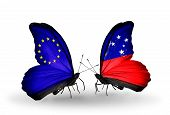 Two Butterflies With Flags On Wings As Symbol Of Relations Eu And Samoa
