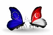 Two Butterflies With Flags On Wings As Symbol Of Relations Eu And Singapore