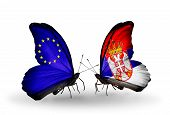Two Butterflies With Flags On Wings As Symbol Of Relations Eu And Serbia