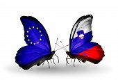 Two Butterflies With Flags On Wings As Symbol Of Relations Eu And Slovenia