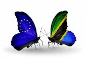 Two Butterflies With Flags On Wings As Symbol Of Relations Eu And Tanzania