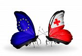 Two Butterflies With Flags On Wings As Symbol Of Relations Eu And Tonga