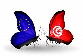 Two Butterflies With Flags On Wings As Symbol Of Relations Eu And Tunisia