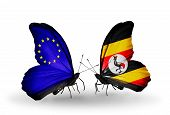 Two Butterflies With Flags On Wings As Symbol Of Relations Eu And Uganda
