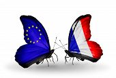Two Butterflies With Flags On Wings As Symbol Of Relations Eu And France