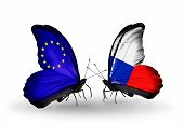 Two Butterflies With Flags On Wings As Symbol Of Relations Eu And Czech