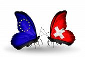 Two Butterflies With Flags On Wings As Symbol Of Relations Eu And Switzerland
