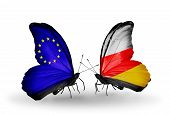 Two Butterflies With Flags On Wings As Symbol Of Relations Eu And South Ossetia
