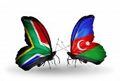 Two Butterflies With Flags On Wings As Symbol Of Relations South Africa And Azerbaijan