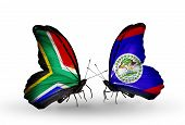 Two Butterflies With Flags On Wings As Symbol Of Relations South Africa And Belize