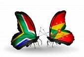 Two Butterflies With Flags On Wings As Symbol Of Relations South Africa And Grenada