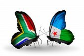 Two Butterflies With Flags On Wings As Symbol Of Relations South Africa And Djibouti