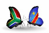 Two Butterflies With Flags On Wings As Symbol Of Relations South Africa And Kongo