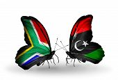 Two Butterflies With Flags On Wings As Symbol Of Relations South Africa And Libya