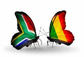 Two Butterflies With Flags On Wings As Symbol Of Relations South Africa And Mali