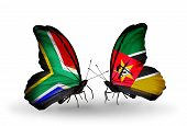 Two Butterflies With Flags On Wings As Symbol Of Relations South Africa And Mozambique
