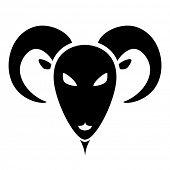 detailed illustration of stylized goat head, eps10 vector