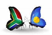Two Butterflies With Flags On Wings As Symbol Of Relations South Africa And Palau