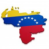 detailed illustration of a map of Venezuela with flag, eps10 vector
