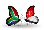 Two Butterflies With Flags On Wings As Symbol Of Relations South Africa And Singapore