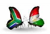 Two Butterflies With Flags On Wings As Symbol Of Relations South Africa And Tajikistan