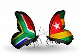 Two Butterflies With Flags On Wings As Symbol Of Relations South Africa And Togo