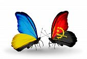 Two Butterflies With Flags On Wings As Symbol Of Relations Ukraine And Angola