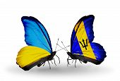 Two Butterflies With Flags On Wings As Symbol Of Relations Ukraine And Barbados