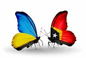 Two Butterflies With Flags On Wings As Symbol Of Relations Ukraine And East Timor