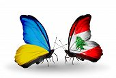 Two Butterflies With Flags On Wings As Symbol Of Relations Ukraine And Lebanon
