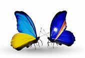 Two Butterflies With Flags On Wings As Symbol Of Relations Ukraine And Marshall Islands