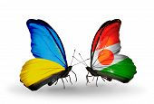 Two Butterflies With Flags On Wings As Symbol Of Relations Ukraine And Niger