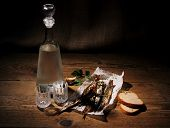 Two Glass For Vodka With Dried Capelin And Bread